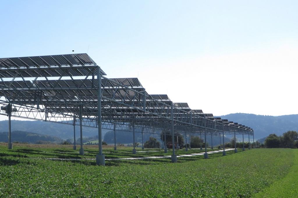 Agri-Photovoltaik: Solarmodule auf Stützen 4m über einem grünen Feld.